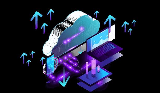 Computadores, celulares e um tablet alinhados e se comunicando com uma nuvem.